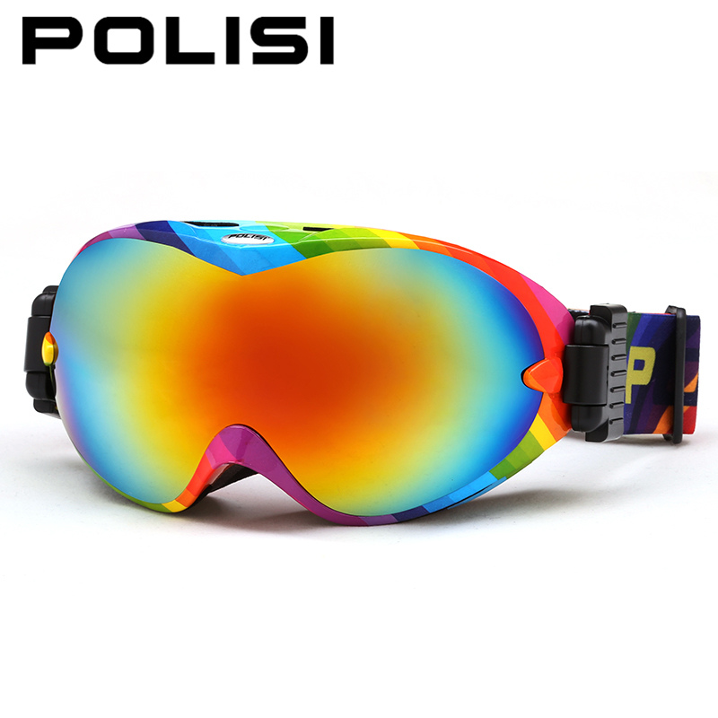 Invierno nieve gafas de esquí polisi doble capa grande esférico lente gafas de p