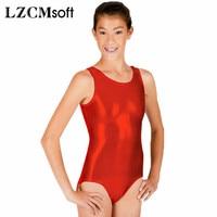 LZCMsoft Unisex Shiny Kim Ba Lê Leotard Dancewear Red Lycra Tank Unitard Bodysuit Đối Với Phụ Nữ Đội Hiệu Suất