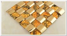 Brand New 1BOX (11sheets)  Metal Crystal Glass 3D Mosaic Tile Wall tile kitchen backsplash ceiling tile Free shipping fashion stainless steel metal mosaic glass tile kitchen backsplash bathroom shower background decorative wall paper wholesale