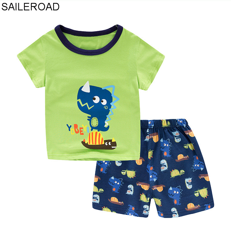 SAILEROAD Summer Children   Pajamas     Sets   Baby Girls Cute Dinosaur Short Sleeved Clothes suit Cartoon Sleepwear Kids Infant Pyjamas