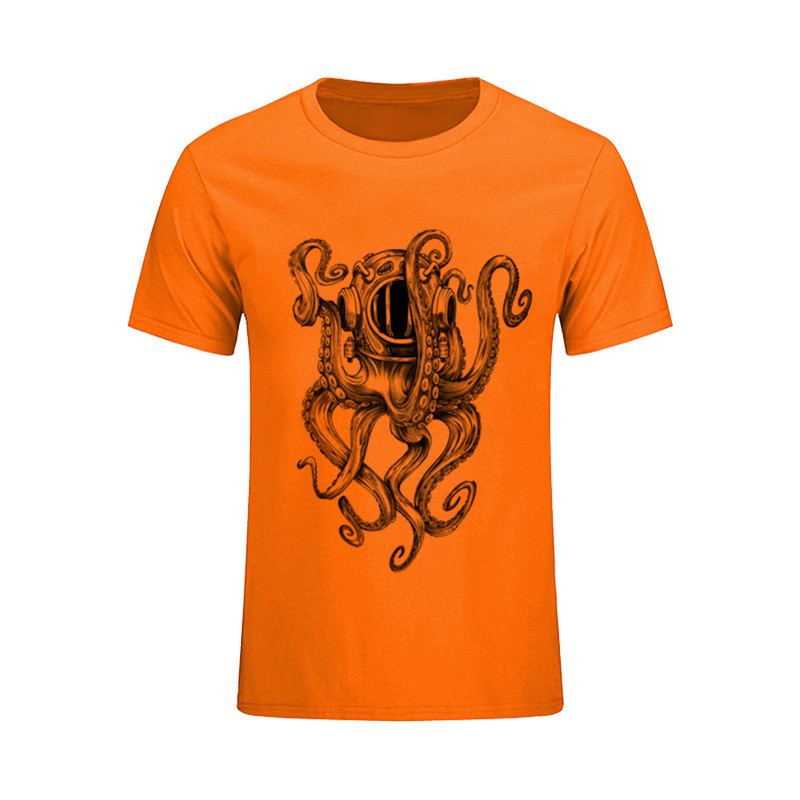 New Fashion T Shirts Deep Sea Diver Helmet Octopus Men's T-Shirt Pre-Cotton Large Size Low Price Homem Short Sleeve Male TShirt