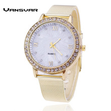 Vansvar Lxury Gold Watch Girls Rhinestone Watch Girls Style Costume Quartz Watch Reloj Mujer Relogio Feminino Present 1322