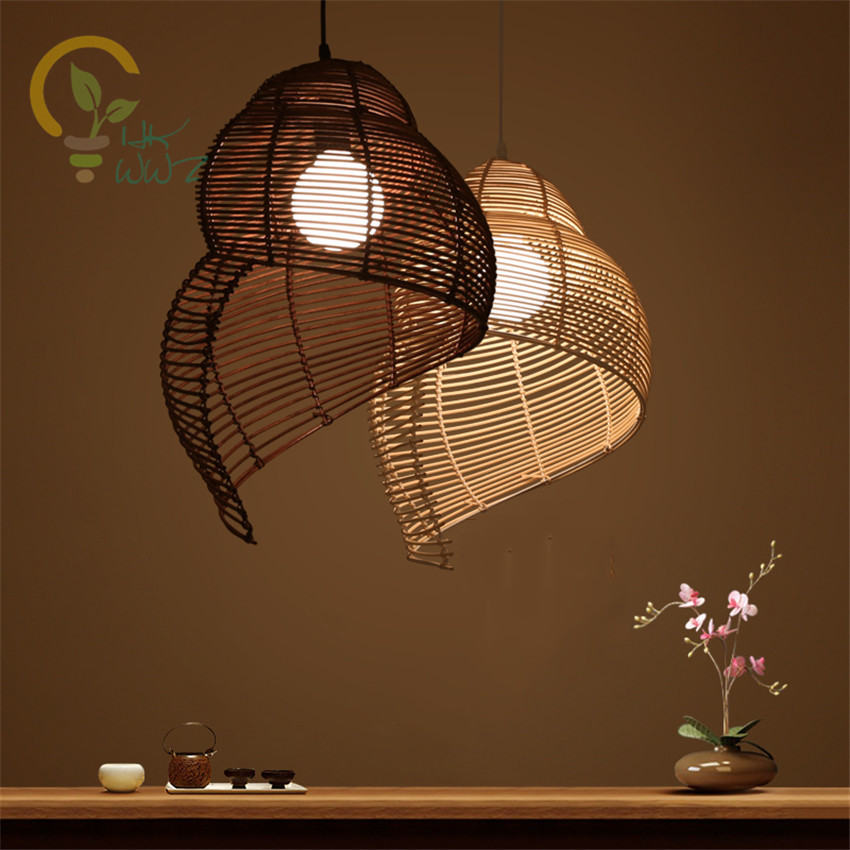 Southeast Asia Rattan Pendant Lights Creative Conch Pendant Lamps for Tea room Restaurant Coffee Bar Art Deco Lighting Fixtures
