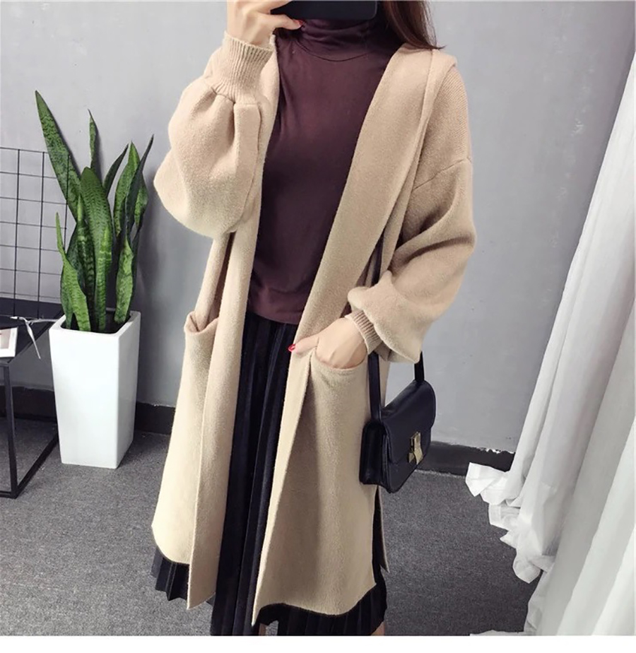 Autumn Winter Women Long Cardigans Hooded Sweaters Casual Knitted Outwear Puff Sleeves for Fashion Girls Female Warm Clothing (8)