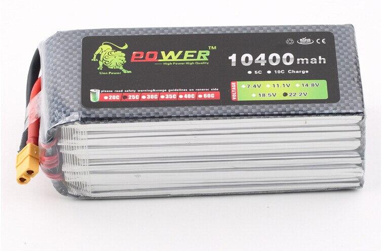 D'origine Ultra-haute Capacité Lion Puissance 6 S Lipo Batterie 22.2 V 10400 MAH 25C RC Heilecopter Voiture Bateau 6 S 10000 mah Batterie