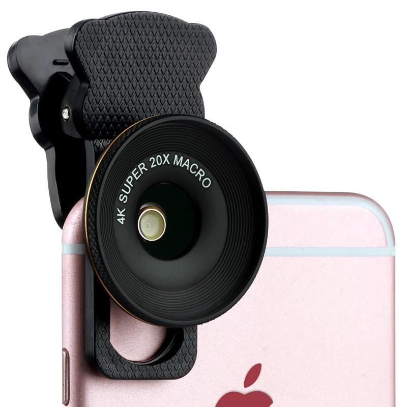 Umeitu Phone Macro Lens 4K HD Super 20X Macro Lenses For Huawei Xiaomi Mobile Camera Macro Lens For iPhone 5 6 7 8 Samsung S9 S8