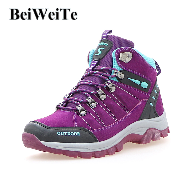 BeiWeiTe Winter Women Trail Hiking Ankle Boots Spring Walking Outdoor Shoes High Top Anti-skid Trekking Tourism Sneakers Purple new women hiking shoes outdoor sports shoes winter warm sneakers women mountain high tops ankle plush zapatillas camping shoes