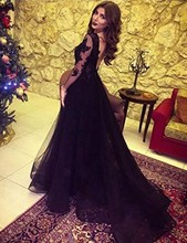 New Design luxury Lace Appliques Illusion Slit Open Back Formal Party Gown Long Sleeve Prom Dress 2019 Evening Dresses