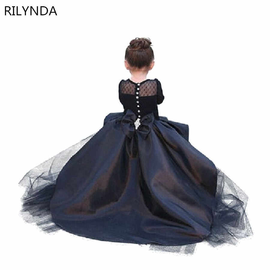 שחור פרח ילדה שמלות גבוהה נמוך סקופ ארוך שרוולים מקיר לקיר סאטן טול כדור שמלת ילדי מסיבת חתונת שמלות