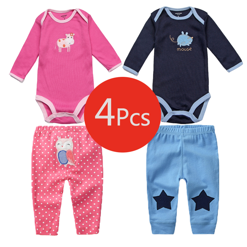 4Pcs Baby Boy Clothes Spring Baby Rompers Roupas Bebe Newborn Clothes Long Sleeve Infant Baby Girl Clothing Baby Jumpsuits+Pants penguin fleece body bebe baby rompers long sleeve roupas infantil newborn baby girl romper clothes infant clothing size 6m