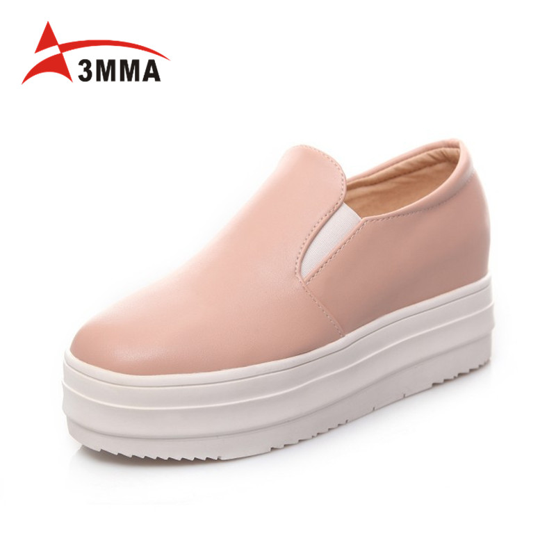 3MMA 2017 Spring Autumn Moccasin Womens Fashion Creepers Shoes Women Flats Loafers Ladies Slip on Platform Shoes Plus Size 34-43 new 2017 spring summer women shoes pointed toe high quality brand fashion womens flats ladies plus size 41 sweet flock t179