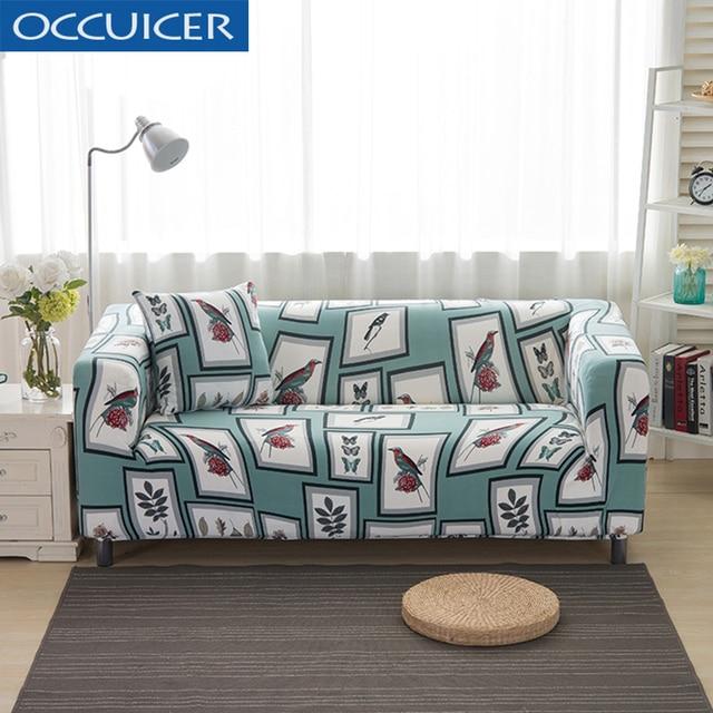 Vintage Birds Printing Sofa Cover Wrap All Inclusive Elastic Corner Armchair Towel Furniture