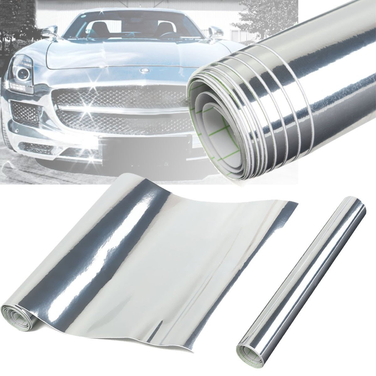 Chrome Silver Mirror Vinyl DIY Sheet Wrap Roll Decal Film Car Sticker Gloss Decal Car Styling 30*150cm mirror silver chrome vespa open face