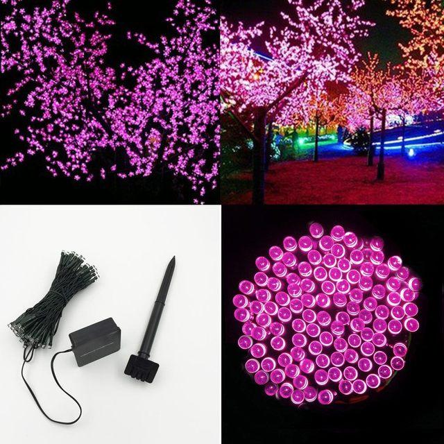 Impermeable 100 LED de Vacaciones luces de Cadena Solar Power Sensor Interruptor Festival Fiesta de Navidad de Hadas Coloridas Luces De Navidad De Cuerda