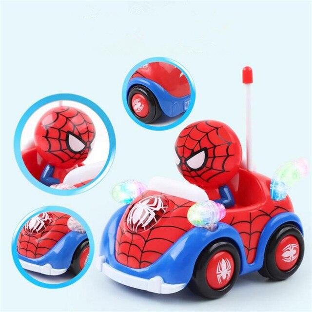Capitão América Luz Música Brinquedo Do RC Do Carro Do Homem Aranha Brinquedos Jogo Automático Elétrico de Controle Remoto Carro