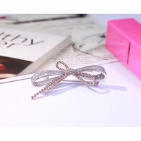 Hot brand 925 stelring silver jewelry bowknot brooch mix rose gold rope chain bow brooch france pairs jewelry