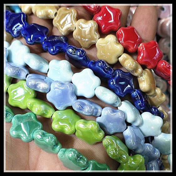 Beads & Jewelry Making Initiative 46pcs Ceramic Beads Five Star Shape Porcelain Beads Accessories Size 15mm For Men Bracelets Making Jewelry Fittings Components
