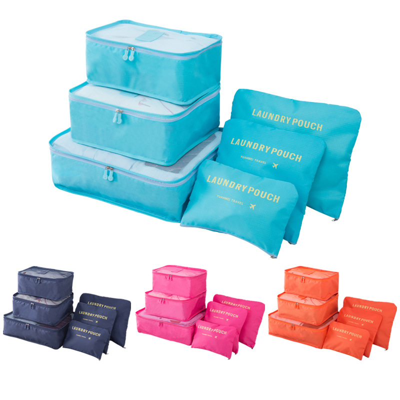 Packing Cube Travel Bag System Durable 6 Pieces Set Large Capacity Of Overnight Bags  Unisex Clothing Sorting Organize Wholesale