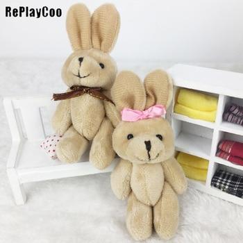 100Pcs/Lot Mini rabbit Stuffed Plush Toys 11cm Small rabbit with bow tie Stuffed Toys pelucia Pendant Kids Birthday Gift J04101
