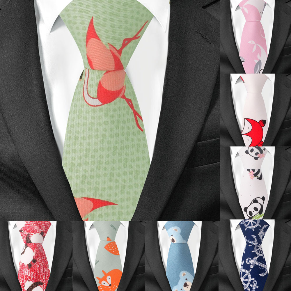 Fashion Animal Tie For Men Women Skinny Neck Tie For Wedding Business Casual Cartoon Neckties Classic Suit Slim Cotton Neck Ties