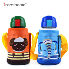 Transhome Glass Water Bottle 500ml Creative High Borosilicate Children's Straps Glass Water Bottles With Straw Portable Kettle