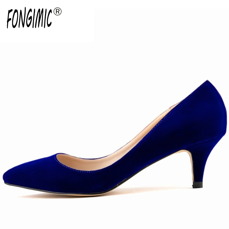 Size 35-42 Women Thin Heel Pumps Pointed Toe Shoes Simple Pumps Flock Popular Ladies Slip on Shoes Comfortable Candy Color Shoes new 2017 spring summer women shoes pointed toe high quality brand fashion womens flats ladies plus size 41 sweet flock t179