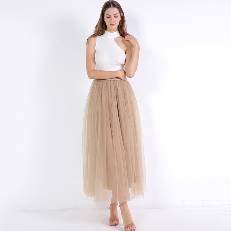 4 Layers 100cm Floor length Skirts for Women Elegant High Waist Pleated Tulle Skirt Bridesmaid Ball Gown Bridesmaid Clothing 20