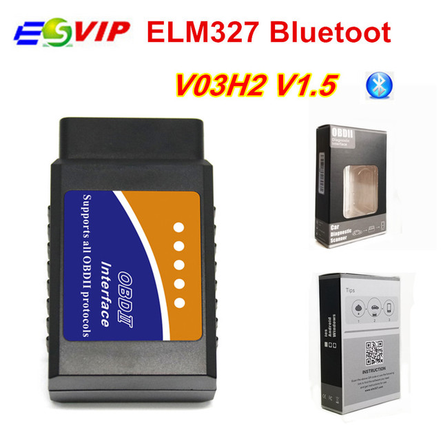 Cheap 100pcs DHL elm 1.5  V03H2 elm 327 v1.5 Diagnosis Scanner Tool Vehicle OBD2 OBDII Bluetooth Diagnostic Interface auto Fault