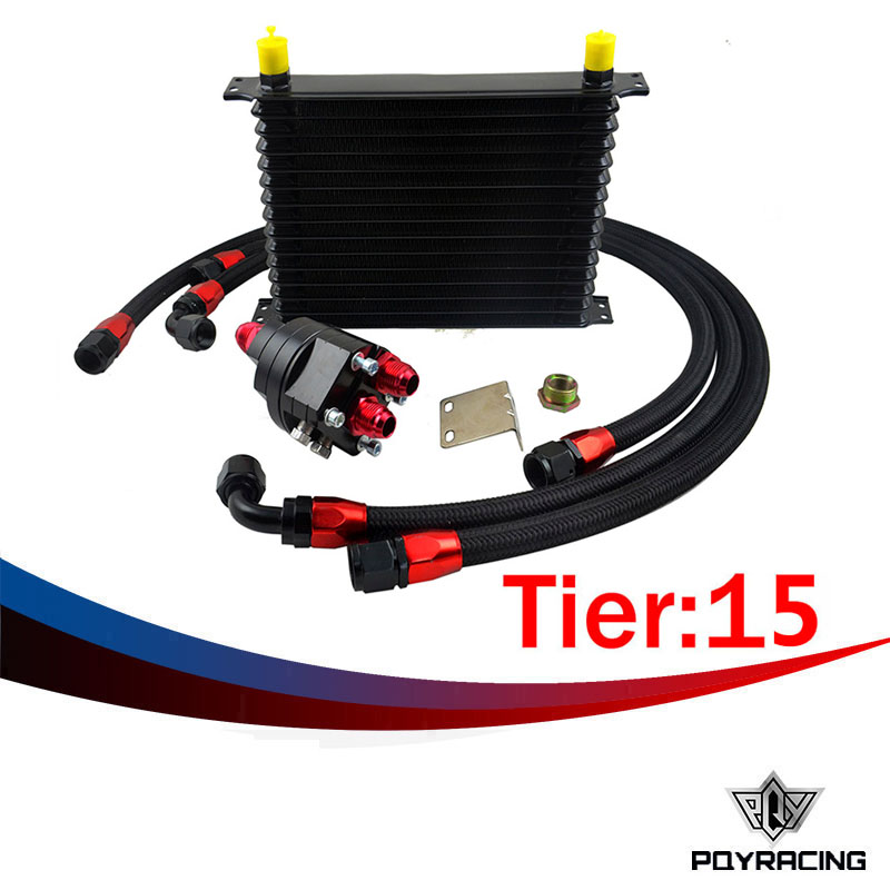 PQY RACING- Universal 15 Row 10AN Aluminum Engine Transmission Oil Cooler Relocation Kit an10 7 row universal engine transmission oil cooler hose end kit