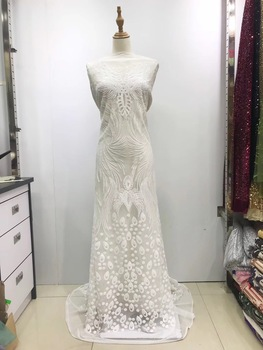 African Lace Fabric 2019 High Quality Sequin Lace Purple French Tulle lace Fabric Beaded Lace Fabric For Wedding Dress JL159