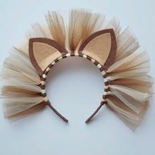 Тюлевая повязка на голову с изображением Льва для девочек; аксессуары для волос для дня рождения; Детский Костюм Льва на Хэллоуин; повязки на голову; жесткий пластиковый головной убор