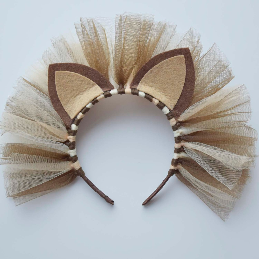 Lion Tulle Headband For Girls Baby Birthday Party Hair Accessories Kids Lion Halloween Costume Headbands Hard Plastic Headwear