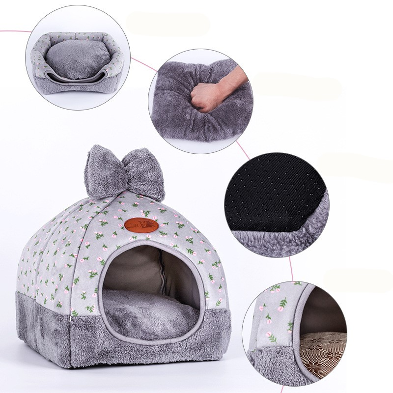 Hot Fleece Soft Pet Yurt Home Dog Bed Puppy Dog Kennel Pet Bed House For Dog Cat Small Animals Home Dog House With Mats Gifts