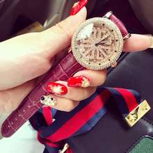 Роскошные Дамы Моды Женщины Кварцевые Часы Нежный Горный Хрусталь Платье Розовое Золото Ролл Наручные Часы reloje mujer montre femme OP001