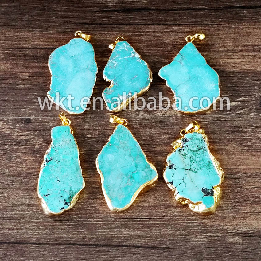 WT P514 WKT Wholesales natural green stone pendants gold color edged single bail pendants for women