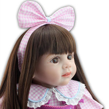 60cm Silicone Baby Reborn Dolls Lifelike Doll Reborn Babies Toys For Girl Pink Princess Gift Brinquedos For Childs Playmate