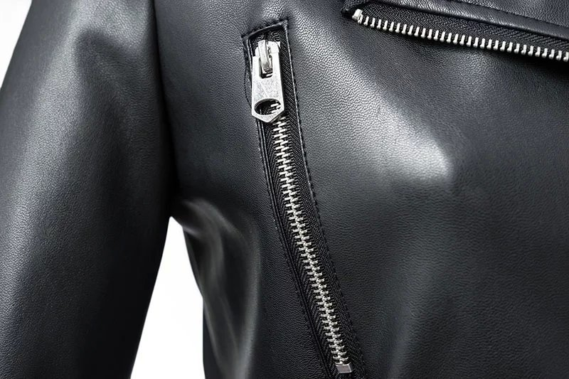 Black Zipper Long Sleeve Motorcycle Punk Faux Soft Leather Jacket Coat 5