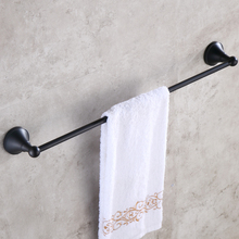 Oil Rubbed Bronze Single Towe Bar Wall Mounted Bathroom Bath Towel Rack Bar Towel Holder KD863 oil rubbed bronze bathrrom dual towel bar towel hanger soild brass wall mount