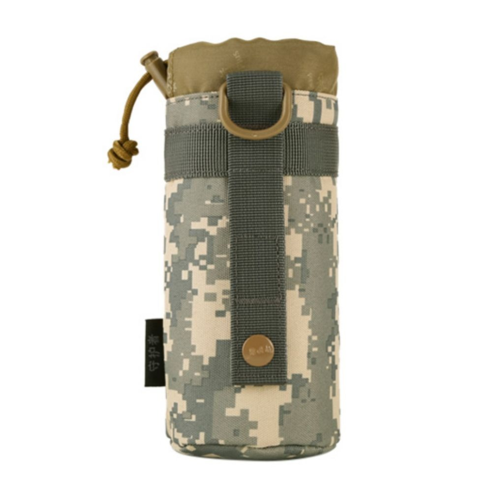 US Tactical Military Outdoor Water Bottle Bag Zipper Pouch Kettle Holder Molle