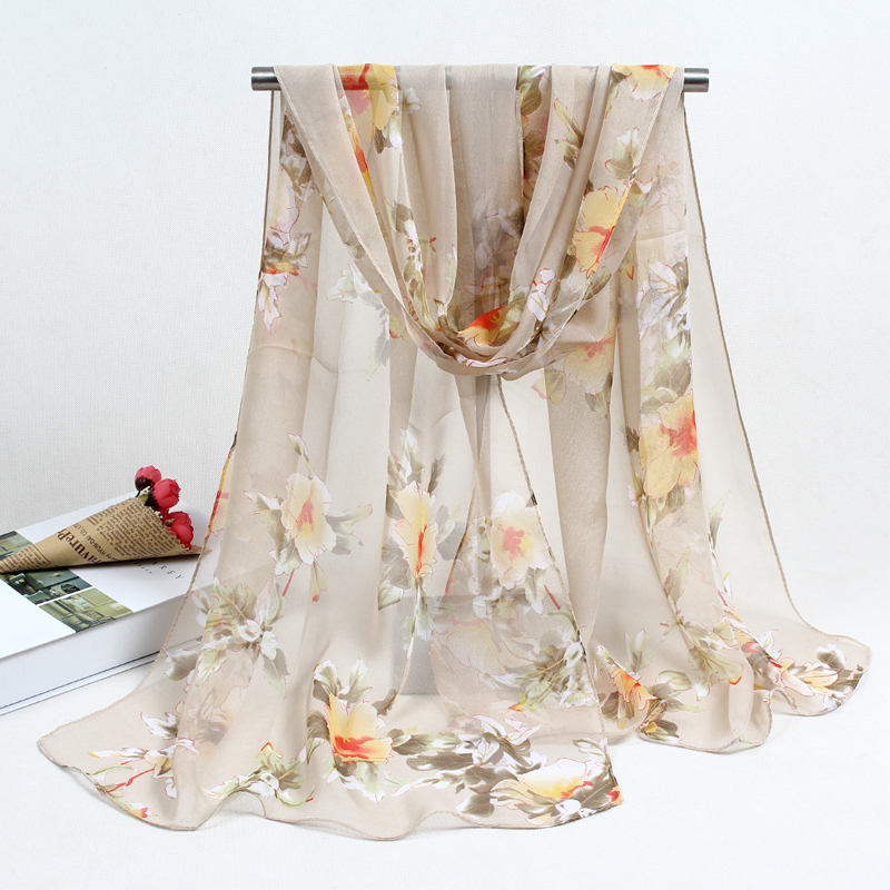 Scarf Woman Muslim Hijab Silk Female Summer Print Flowers Silk Feeling Polyester Scarf Spring And Autumn Women Scarves FZ055