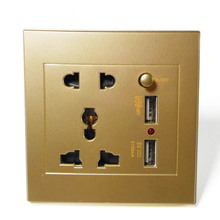 купить White Champagne Gold Dual USB Electric Wall Charger Dock Station Socket Power Outlet Panel Plate 86 USB Socket Wall дешево