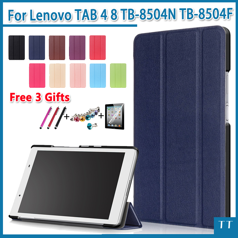 Case for Lenovo TAB4 8 PU Leather Folding Folio Case for Lenovo TAB 4 8 TB-8504N TB-8504F Tablet Stand Case + Screen Film gifts slim fit stand feature folio flip pu hybrid print case for lenovo tab 3 730f 730m 730x 7 inch