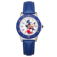 Disney Brand Original Children Boy Watches Quartz Leather Black Blue Cartoon Mickey Mouse Students Clocks Luminous