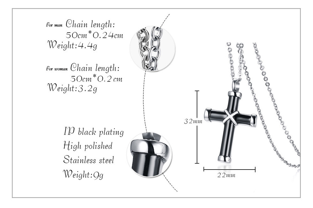 Ikeacasa, Hollow Cross Pendant For Men Women Necklace Stainless Steel Stylish Unisex Jewelry