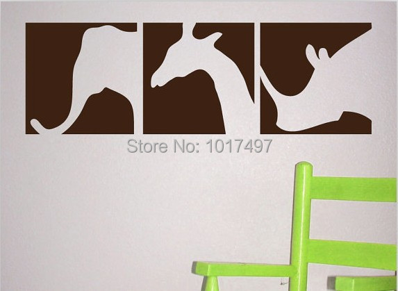 Elephant Giraffe Rhino Vinyl Wall Stickers -  Safari Animals Square Silhouette wall sticker animal home decorations, p2041