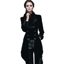 Steampunk Womens Jackets And Coats Winter Gothic News Windbreaker Mujer Ladies Long Sleeve British Coat Black Color