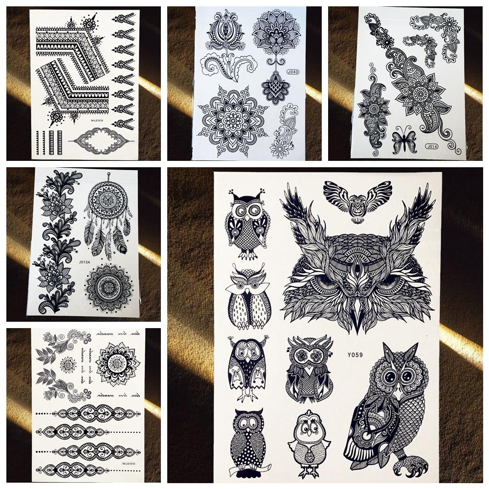 Buho Tatuaje Mandala 25 estilos nuevos tatuajes de henna negro falso impermeable