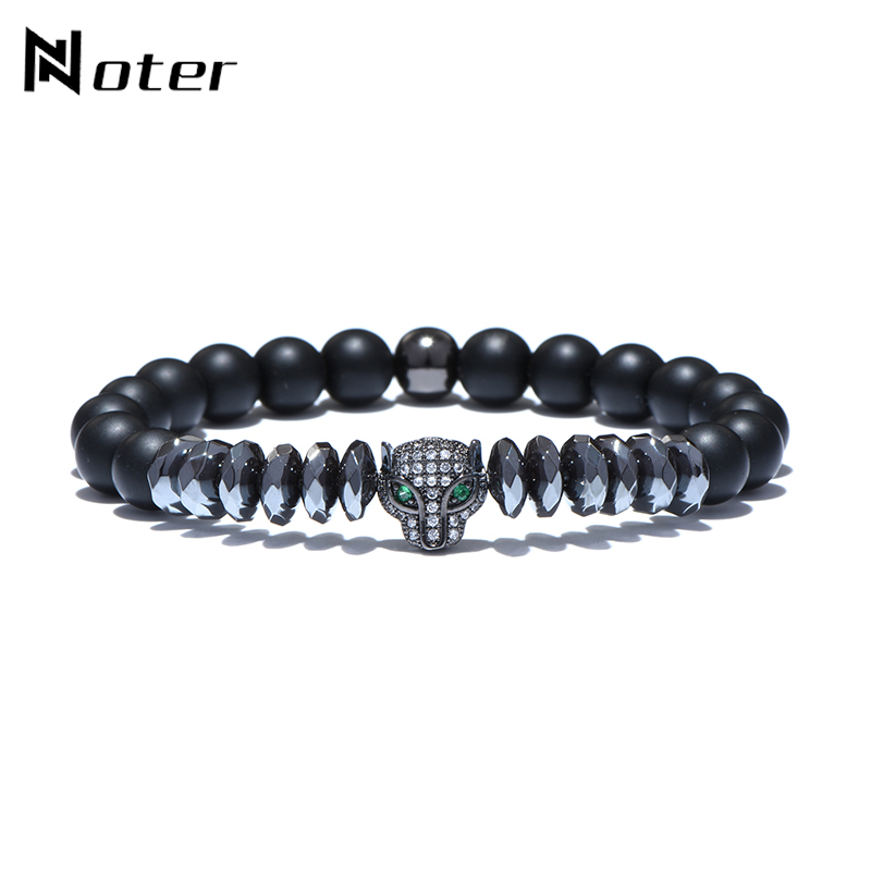 Noter Fashion Animal Leopard Bracelet Black Natural Stone Hematite Beads Braslet For Women Mens Hand Jewelry Pulsera Hombre