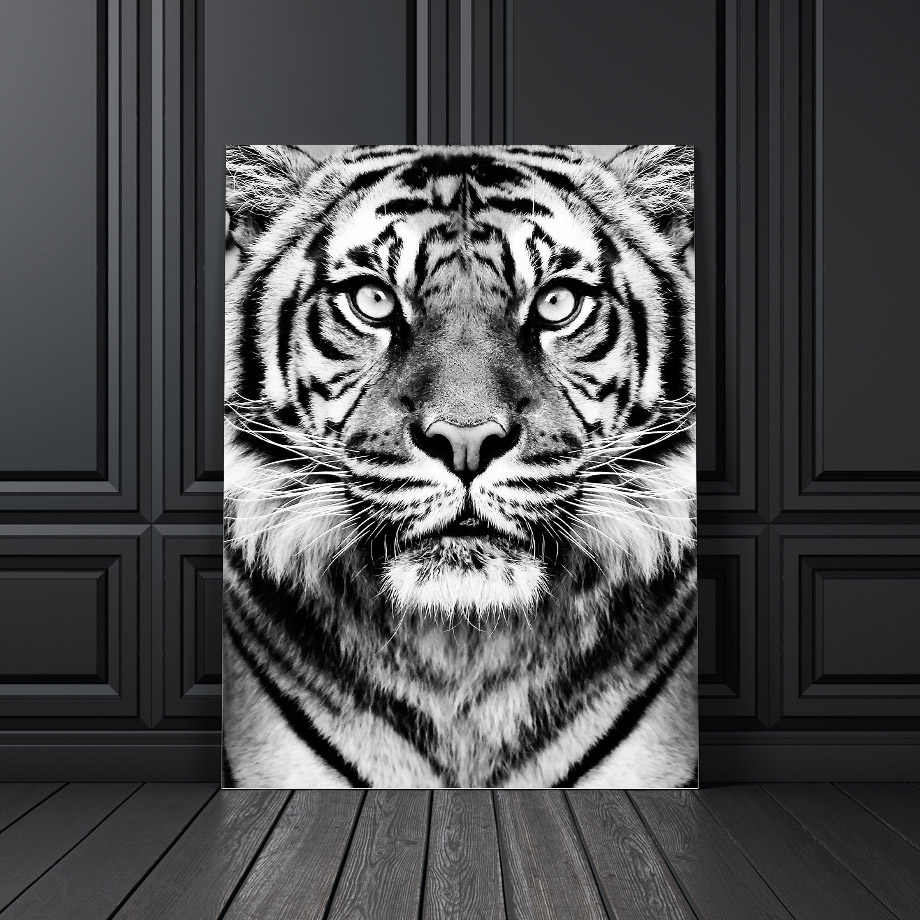 Wall Art Canvas Painting Black White Tiger Photo Nordic Posters And Prints Club Decoration Wall Pictures For Living Room Salon