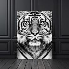 Cuadro sobre lienzo para pared, imágenes de tigre blanco y negro, carteles nórdicos e impresiones para decoración de Club, para sala de estar y salón